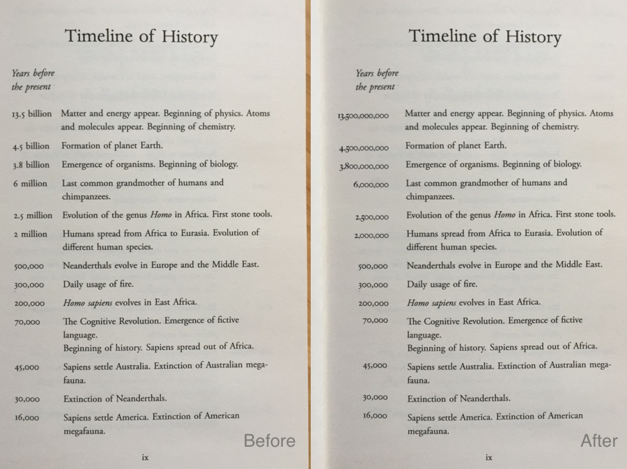 Sapiens Timeline page compared